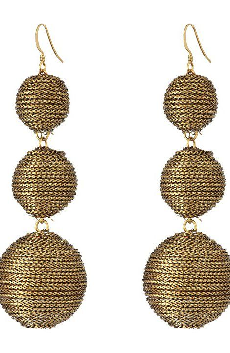 Kenneth Jay Lane 3 Gold Thread Small to Large Wrapped Ball Post Fish Hook Ear Earrings (Gold) Earring - Kenneth Jay Lane, 3 Gold Thread Small to Large Wrapped Ball Post Fish Hook Ear Earrings, 4147EGP-713, Jewelry Earring General, Earring, Earring, Jewelry, Gift - Outfit Ideas And Street Style 2017