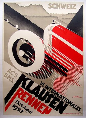 Klausen 1927. One of the most dynamic Art Deco posters ever done by Coulon. Super rare 35.3 x 50.2, LM (Art Deco or deco, is an eclectic artistic and design style that began in Paris in the 1920s and flourished internationally throughout the 1930s and into the World War II era. The style influenced all areas of design, including architecture and interior design, industrial design, fashion and jewelry, as well as the visual arts such as painting, graphic arts and film)