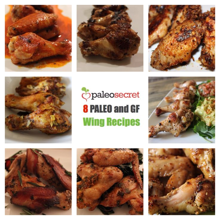 8 paleo chicken wings. 8 easy and delicious paleo and gf wing recipes for the Super Bowl #paleo #superbowl #bacon