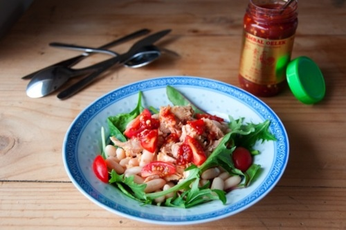 Spicy Canellini Bean and Tuna Salad.