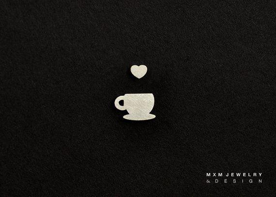 Tiny Coffee / Tea Cup with Heart Stud Earrings by mxmjewelry