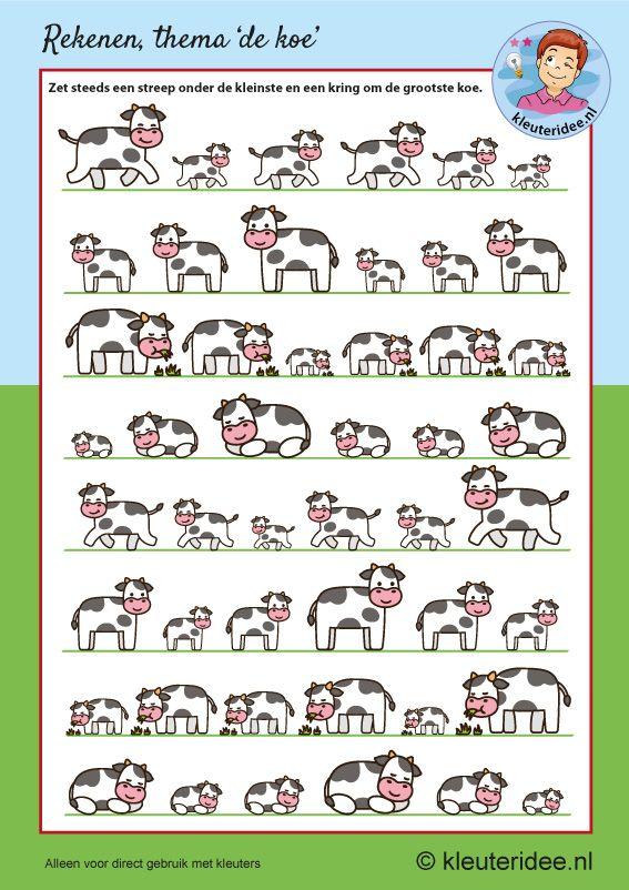 De kleinste en grootste koe, kleuteridee, free printable.