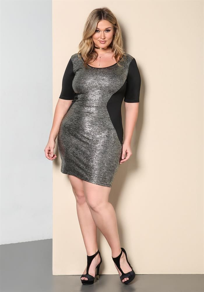 Plus Size Clothing | Plus Size Metallic Hourglass Bodycon Dress | www.Debshops.com | #plussize #debshops
