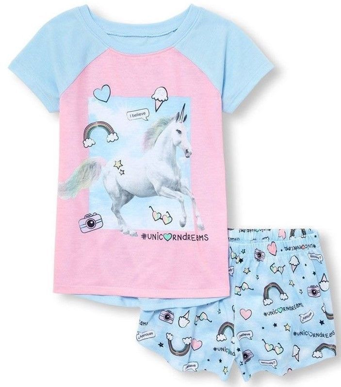 Big Girls//Teen Girls Cute Unicorn Pajamas Striped Short Sleeves Sleepwear Dress Nightgowns