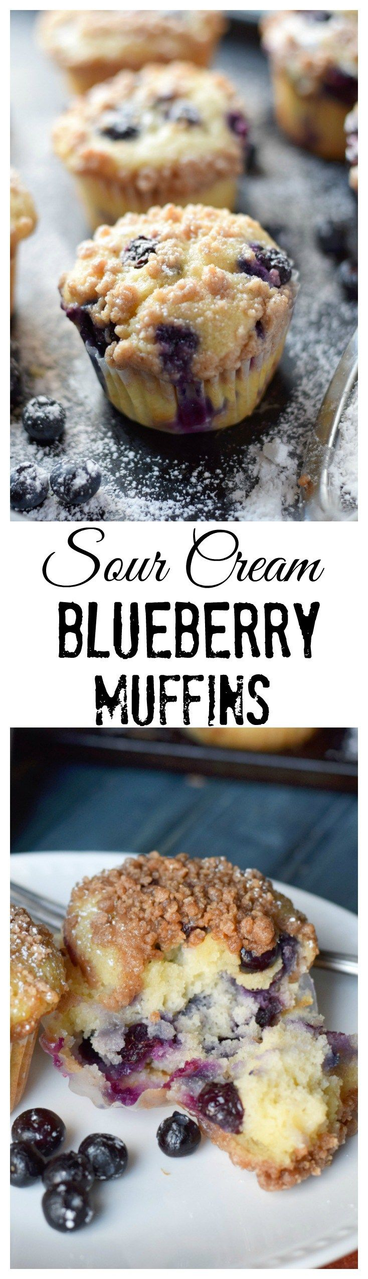 These sour cream blueberry muffins are super moist and loaded with blueberries.