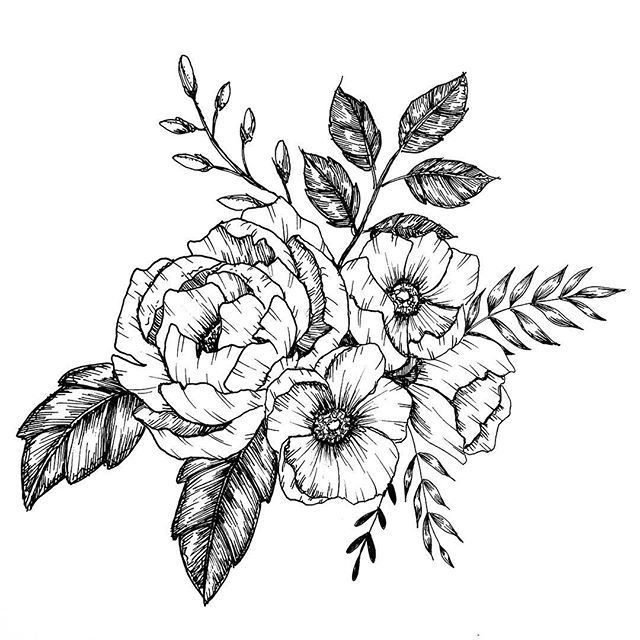 Оптом 100, цветы графика пнг чб