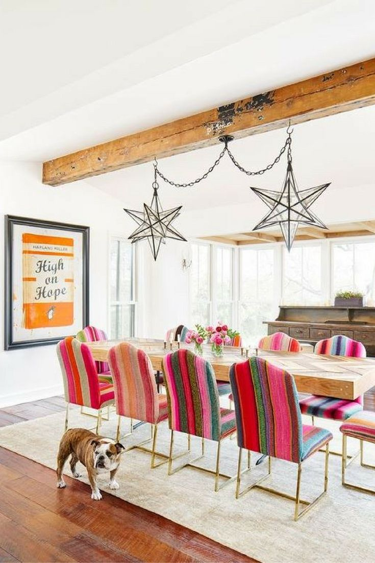 Dining room décor inspo | Eclectic styling | Bold and colourful décor accents