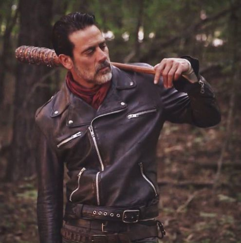 The Walking Dead Negan Jeffrey Dean Morgan Black Leather Jacket Inspired by #WalkingDead a horror #drama serial, directed by #FrankDarabont based on #ComicsBook of #RobertKikman, this Walking Dead Biker Jacket is worn by Dean Morgan  #Valentineday Special offer up to 40% off limited offer hurry up guys  #lovers #friends #costumes #collection #outfit #outwear #outlook #dressing #design #cool #dashinglook #movies #fans #Shopping #leatherjacket #brownjacket #bikerjacket #racers