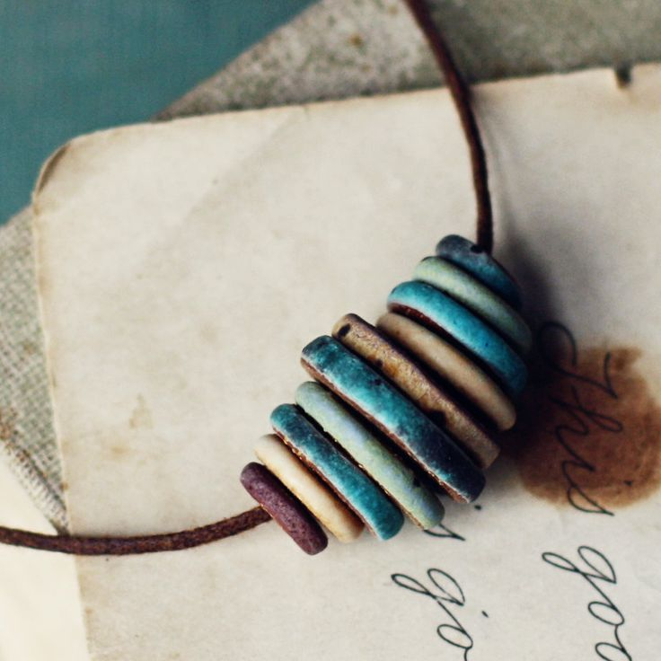 Graduated Disc Beads on Leather Cord - The Surfer- rustic ceramic necklace. for Evan #Ceramic #Leather #WoodenBeads