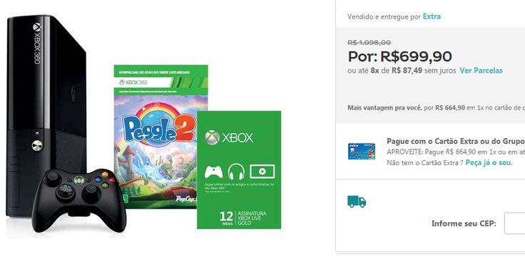 Xbox 360 4GB  Jogo Peggle 2  Xbox Live Gold - 12 Meses << R$ 62991 >>