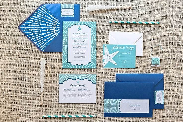 STARFISH WEDDING INVITE - Turquoise and Cobalt Beach Wedding Invite. $50.00, via Etsy.