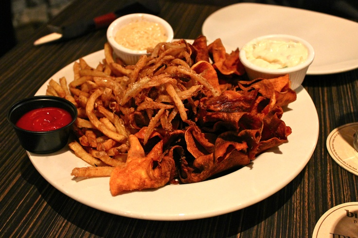 ... potato chips, and dusted onions with ancho mayo, 3 onion dip, and