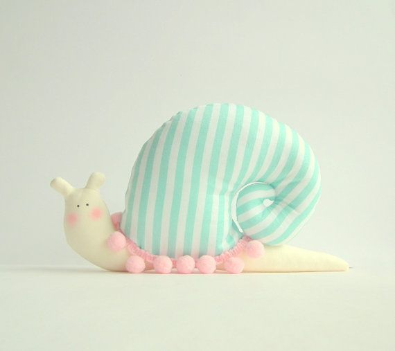 Snail doll, stuffed Snail, animal toy in modern decorative style. Striped mint turquoise fabric, pink pompom trim.Toy and home decor