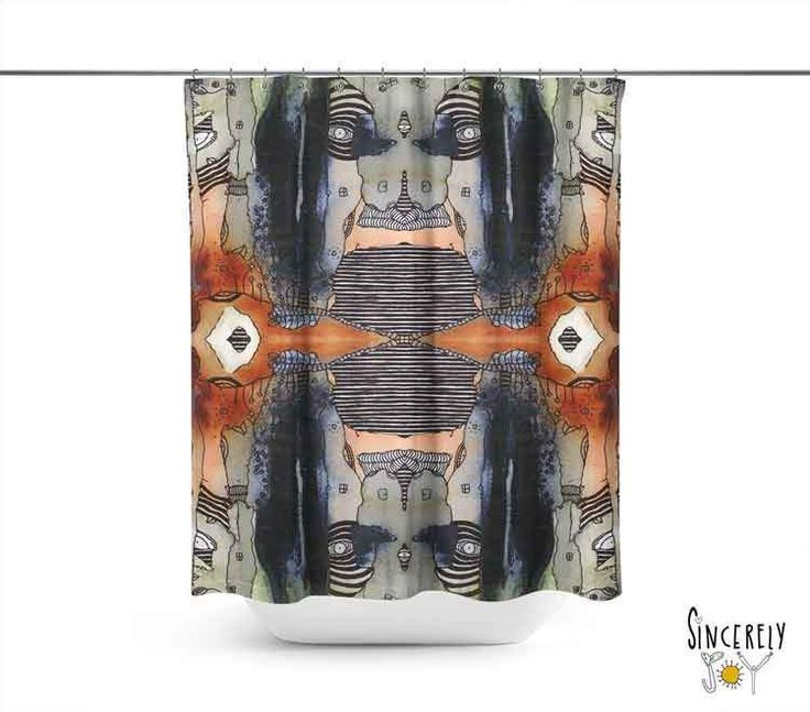 Abstract Mixed Media Shower Curtain 'Source 2'