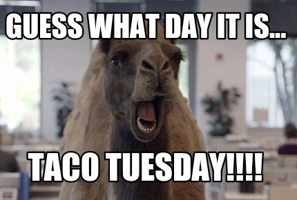 Guess what day it is... Taco Tuesday!!!! Good morning. Have a wonderful Tuesday!!