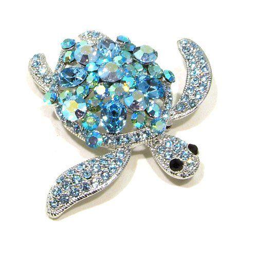 Blue Sapphire AB Austrian Rhinestone Sea Turtle Silver-Tone Brooch Pin with Rhodium Plated Fashion Jewelry. $29.95. Save 57%!