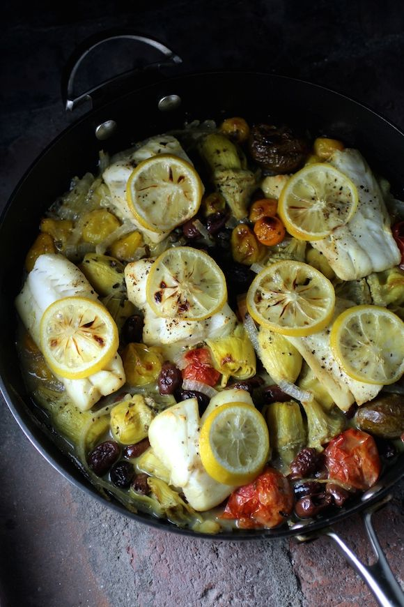 Alaskan Cod, Mediterranean Style. (Almost any fish would be delicious with this recipe.)