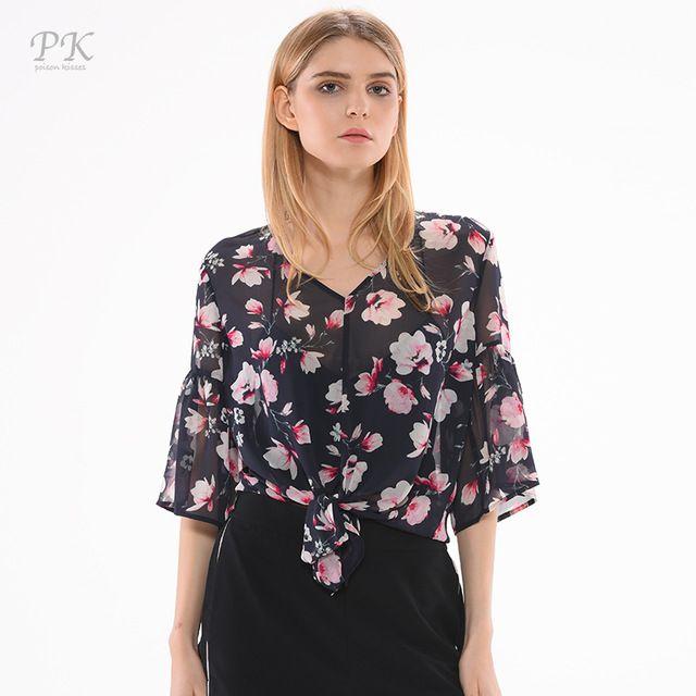 PK floral chiffon blouses knot casual balloon sleeve women chiffon blouses femme ete 2017 blusas femininas flower print floral