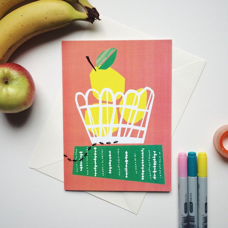 Fruit basket greeting card, Scandinavian style, Modern style, Blank card, Card for him, Card for her, Greetings card, Birthday card by dandiifluff on Etsy https://www.etsy.com/listing/245810923/fruit-basket-greeting-card-scandinavian