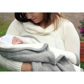 BLISS Sthlm - Teddy babyfilt. Låt ditt barn sova lugnt hemma i sin säng eller i barnvagnen med en mjuk och varm filt från BLISS Sthlm.  Teddy har två lager, en sida som är stickad och en sida består av mjuk teddy som är ljuvligt skön. Filten är tjock men lätt i vikt. Mått: 80 x 100 cm.