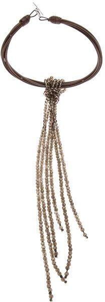 Brunello Cucinelli Brown Tassle Chain Necklace … Outfits, Outfit Ideas, Outfit Accessories, Cute Accessori