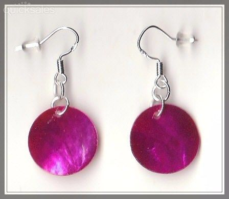 Pink MOP Shell Bead Sterling Silver 925 Hook Earrings  by MadAboutIncense - $9.50