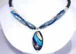 Handmade blue venetian glass and crystal  necklace  www.redki.com.au