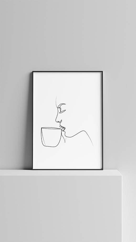 Minimal Woman Drinking Coffee Art , One Line Art , Modern Art, Black and White Art, White Background – Annamustermann