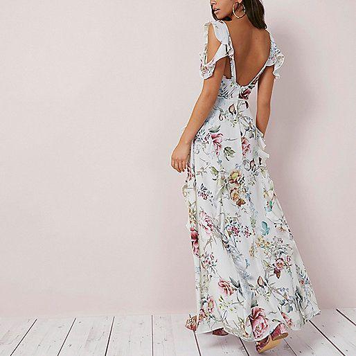 Robe longue à fleurs crème et épaules dénudées à volant - Robes longues - Robes - Femme