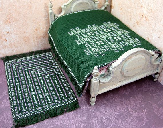 Miniature embroidered dollhouse bedspread rug set features cross stitch and more antique stitches on linen.  Sold but visit PugcentricPursuits at Etsy
