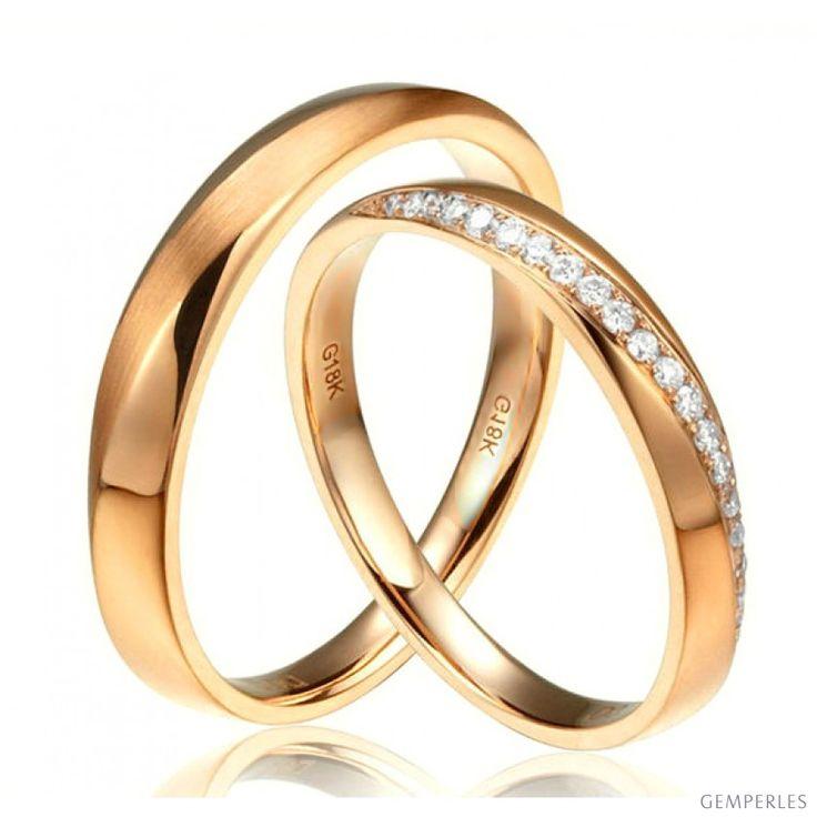 Alliances Duo en Or jaune et diamant. Entrelacée