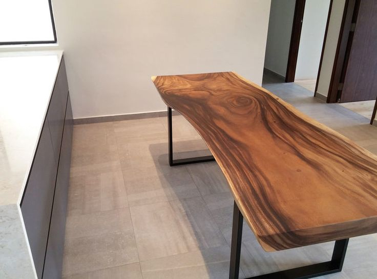 Suar Wood Dining Table with Black Metal Legs