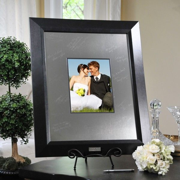Contemporary Signature Picture Guest Book Frame With Engraved Photo Mat