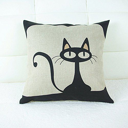 18 X 18 Inch Cotton Linen Decorative Throw Pillow Cover Cushion Case, Cartoon Black Cat