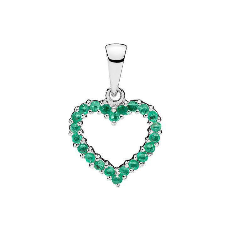 Vedhæng, hjerte med smaragder