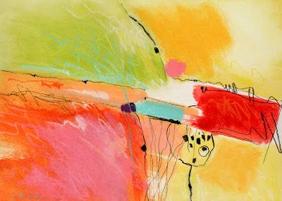 Carol Engles Art: Peach, Green and Yellow, abstract painting by Carol Engles