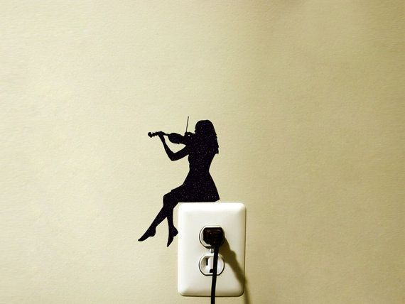 Light Switch Velvet Decal   Violin Wall Sticker   Classical Music Wall Art   Woman Playing Violin Decor   Music Decal
