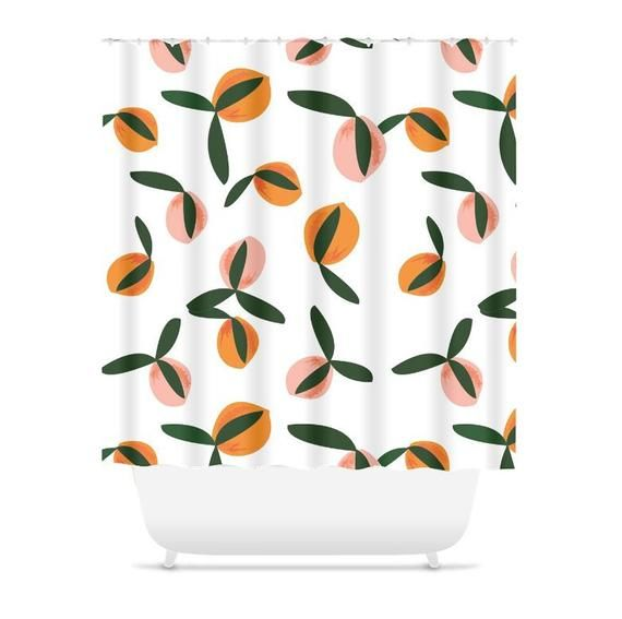 Peach Shower Curtain Fruit Shower Curtain Peach Bathroom Peach