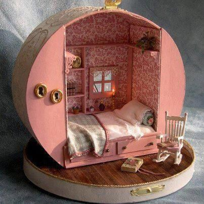 .Pink suitcase dollhouse bedroom