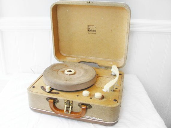 """1950s RCA Victrola Record Player - my first record player and my first record on it was """"how much is that doggie in the window!"""""""