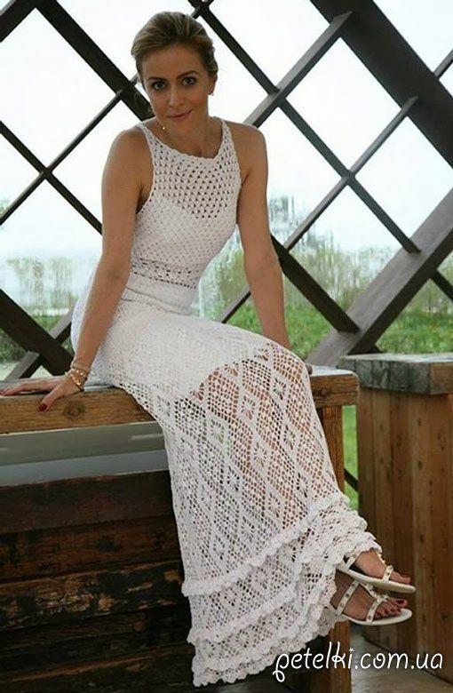 Платье белое вязание крючком