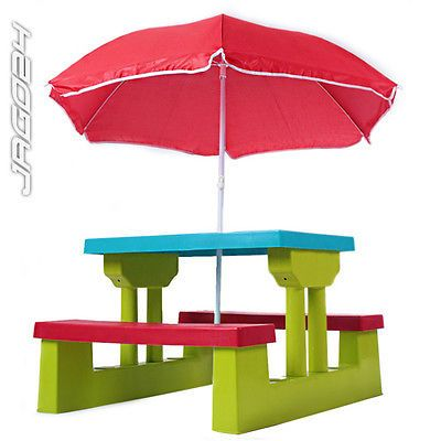 Kids picnic bench set #parasol table #children's garden #furniture outdoor 4 seat,  View more on the LINK: http://www.zeppy.io/product/gb/2/252124926618/
