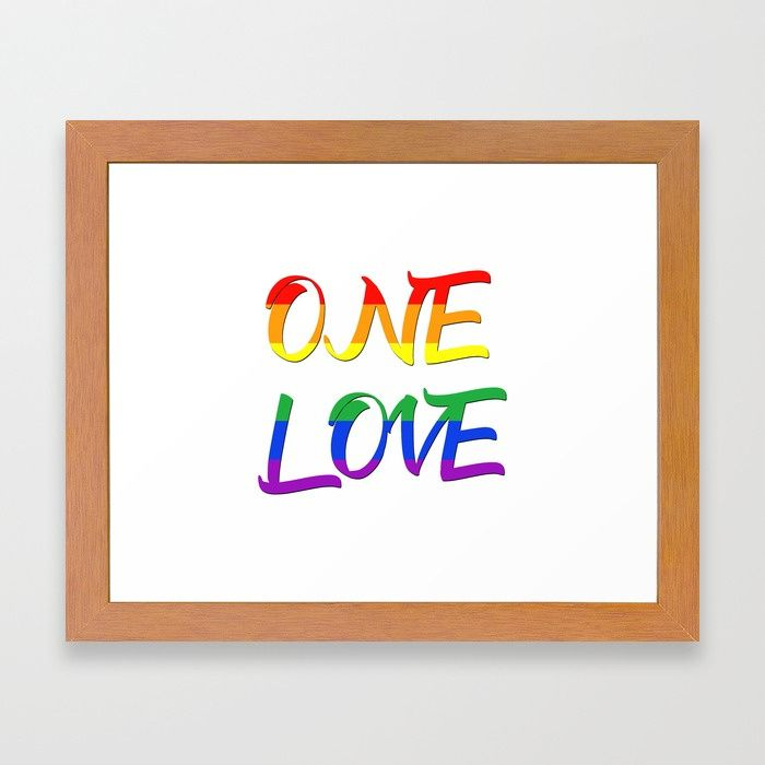 25% Off Art Prints, Tapestries and All Wall Art With Code: LETSHANG . Buy One Love LGBTQ Framed Art Print by scardesign.  #typographic #onelove #art #design #lgbt #pride #couples #popular #valentine #gaypride #popart #rainbowflag #rainbow #colorful #life #love #loveislove #gay #lesbian #home #homedecor #pride #cool #awesome #family #onlineshopping #giftsforhim #giftsforher #fashion #style #framedart #framed #lgbtframedartprint #39 #gaypride #feminist #homegifts #gaydads #lesbianmoms…