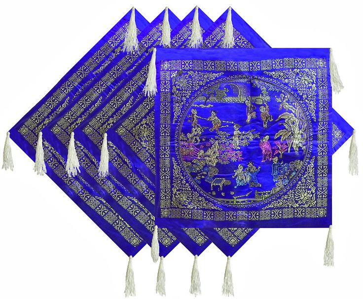Five Pieces Dark Blue Satin Silk Cushion Covers Depicting Life in Traditional China (Satin Silk))