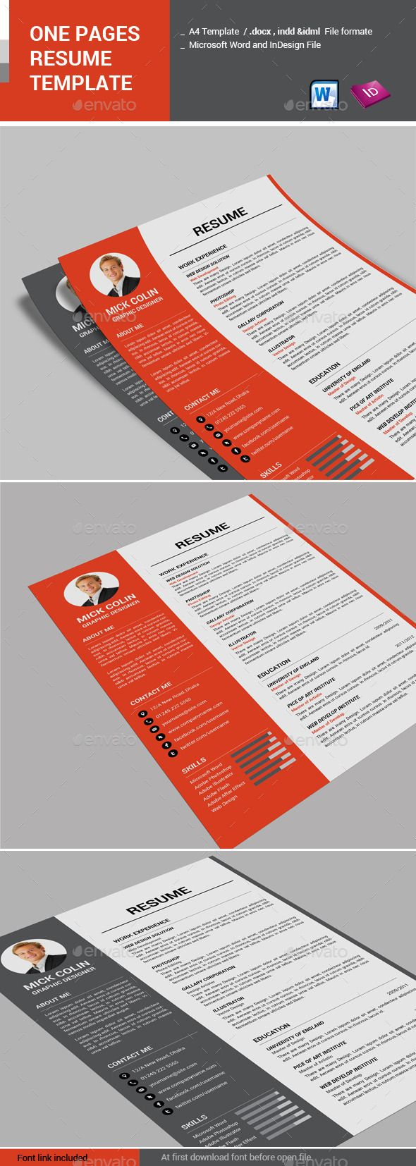 One Pages Resume Template by alimran24 Description Print ready CMYK color mode. Word .docx, and InDesign indd, idml file format. A4 page size fully layered. Two color a