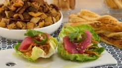 Fresh Tuna and Butter-lettuce Wraps with Crispy Wonton Threads, Shaved Jalapeno, and Basil Oil