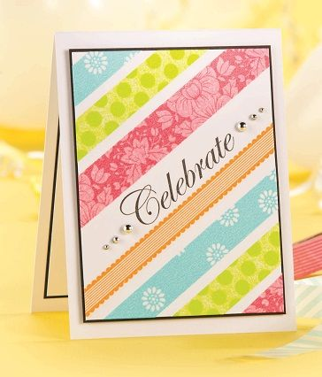 Washi tape striped card with stamped sentiment