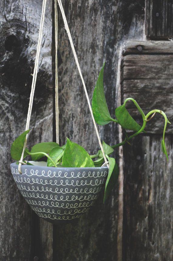 Curlicue Design Hanging Planter // by HalfLightHoneyStudio on Etsy