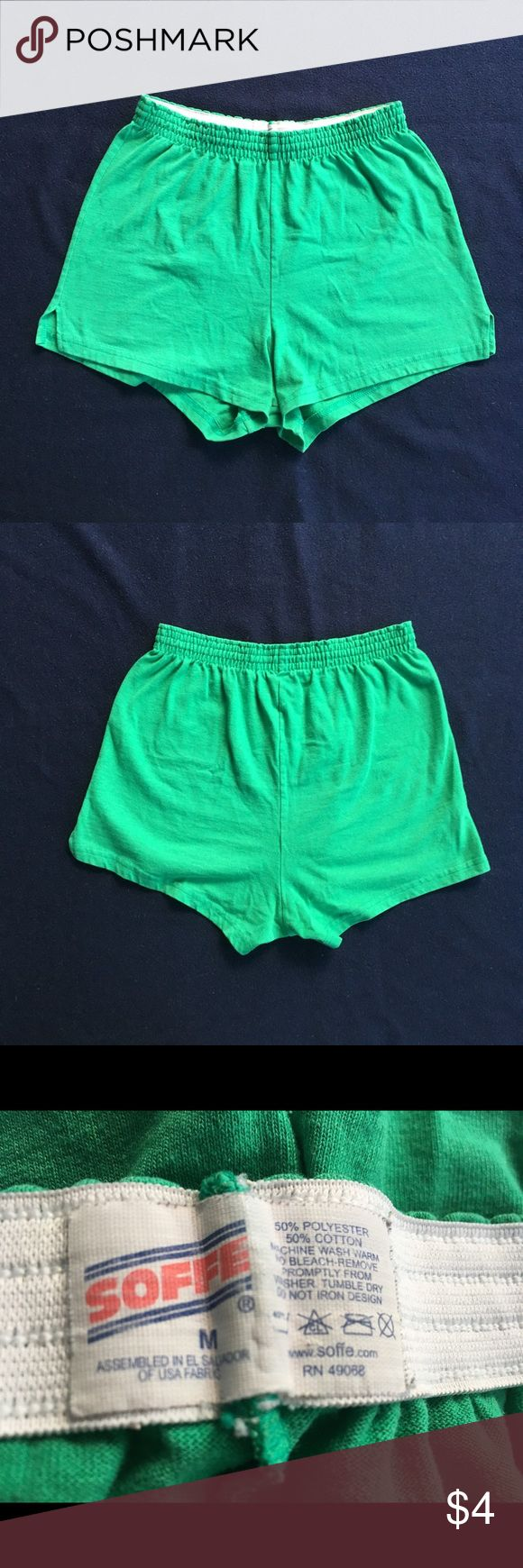 Kelly green Soffe shorts Super soft and comfy shorts in a fun bright green color. Great for gym, pool or just lounging around. Fits slightly small but fabric has a lot of stretch. Add this to a bundle of 2 or more and get it free!            p Soffe Shorts