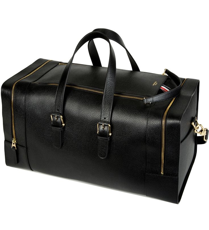 Black Grained Leather Duffle Bag